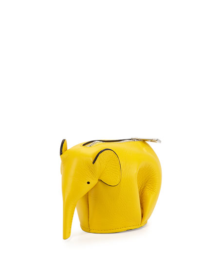 Elephant Leather Coin Case, Yellow