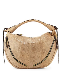 Jasmine Anaconda-Print Leather Hobo Bag, Almond
