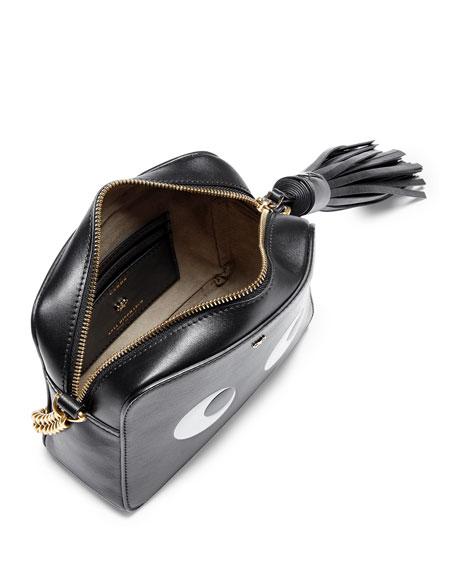 Eyes Leather Crossbody Bag, Black