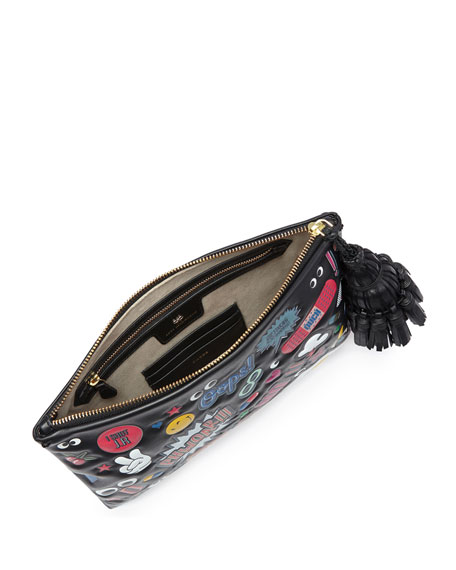 Georgiana All Over Wink Sticker Clutch Bag, Black/Multi