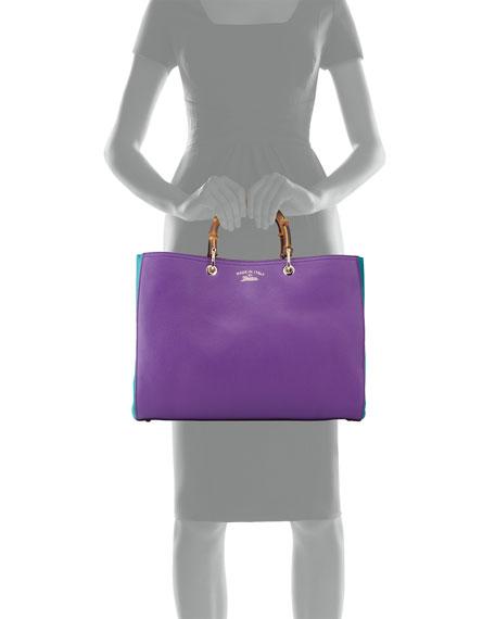 Bamboo Large Shopper Tote Bag, Purple/Turquoise