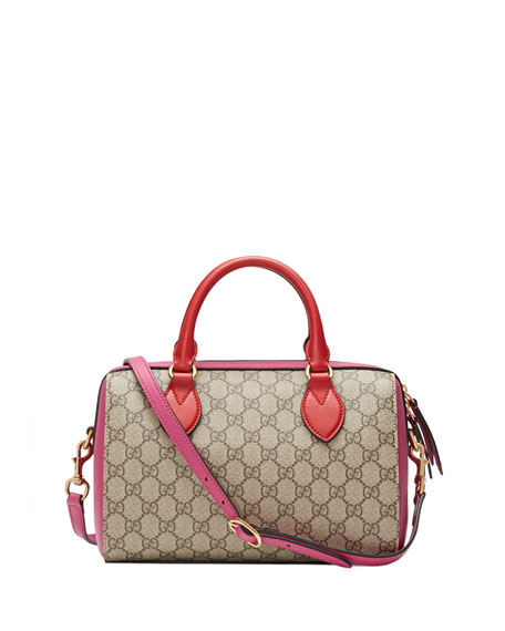 GG Supreme Small Top-Handle Bag, Red/Pink