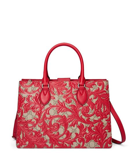GucciArabesque Canvas Top Handle Bag, Red