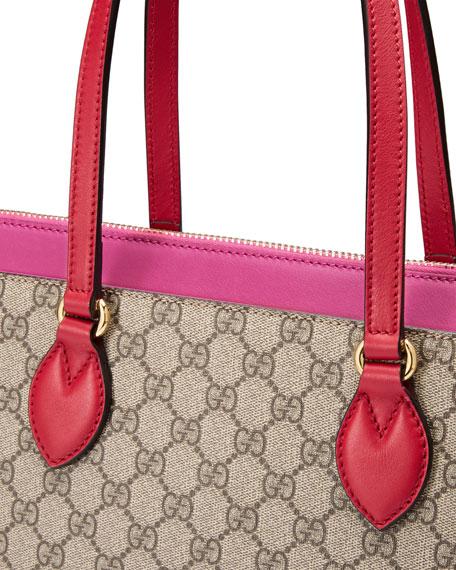 63caf16cc484 Gucci GG Supreme Medium Tote Bag, Red/Pink