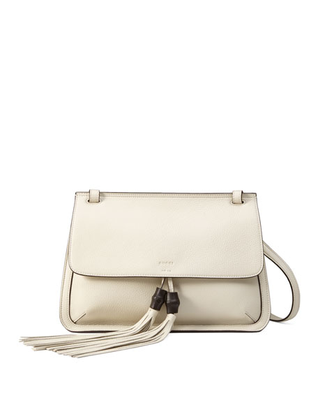 Gucci Bamboo Daily Leather Flap Shoulder Bag, White