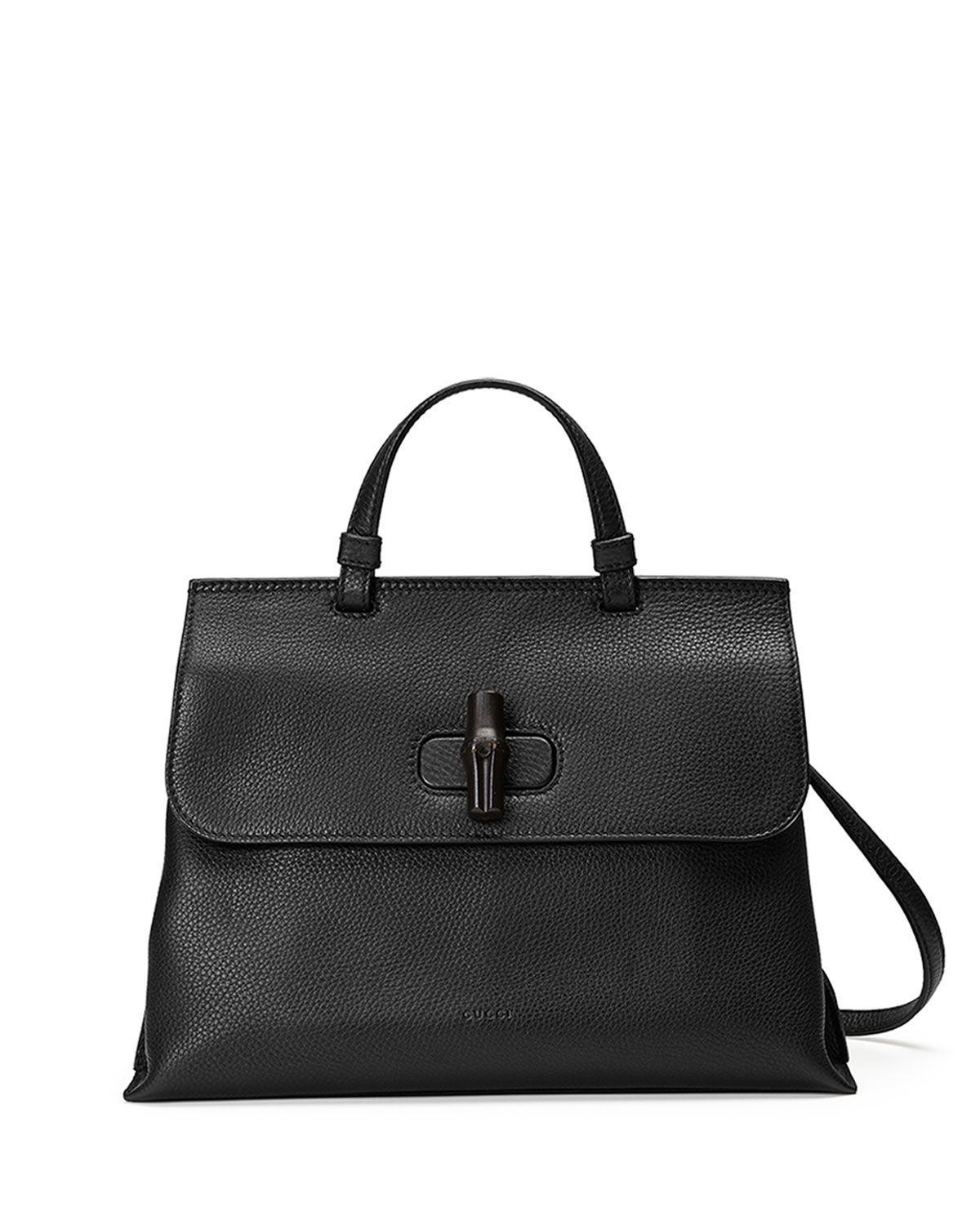 7c655e1148a4a3 Gucci Bamboo Daily Medium Leather Top Handle Bag, Black | Neiman Marcus