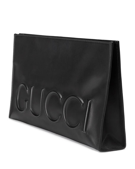 Linea Large Embossed Gucci Clutch Bag, Black