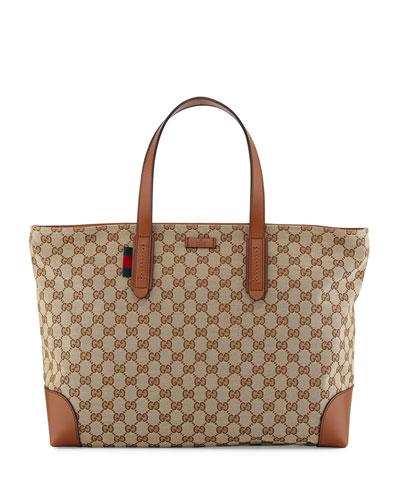 Bridle GG Zip-Top Tote Bag, Brown