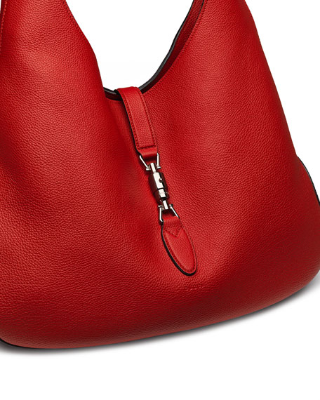 Jackie Soft Leather Medium Hobo Bag, Red