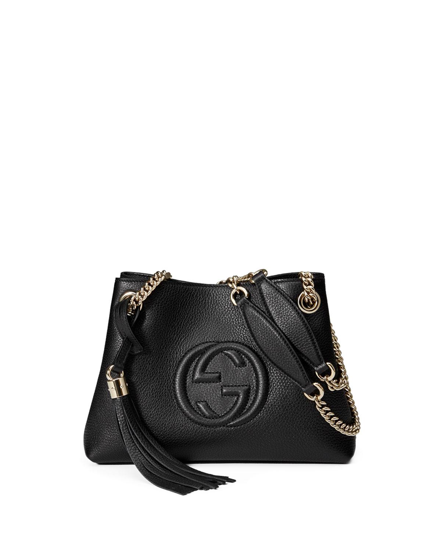 3f9abc74148 Gucci Soho Small Leather Tote Bag w  Chain Straps