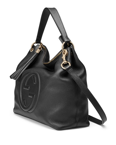 Gucci Soho Large Leather Hobo Bag, Black | Neiman Marcus