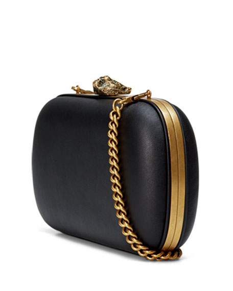 Broadway Round Leather Clutch Bag, Black