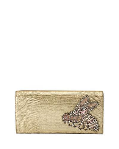 Broadway Embroidered Lizard Clutch Bag, Gold
