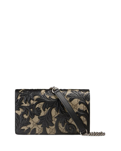 Arabesque Canvas Chain Wallet, Brown/Black