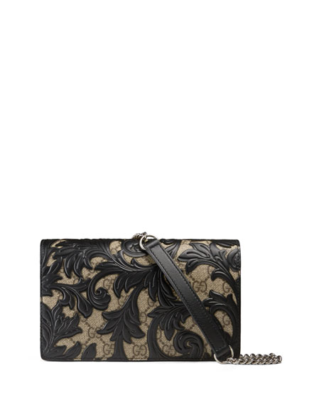 Gucci Arabesque Canvas Chain Wallet, Brown/Black