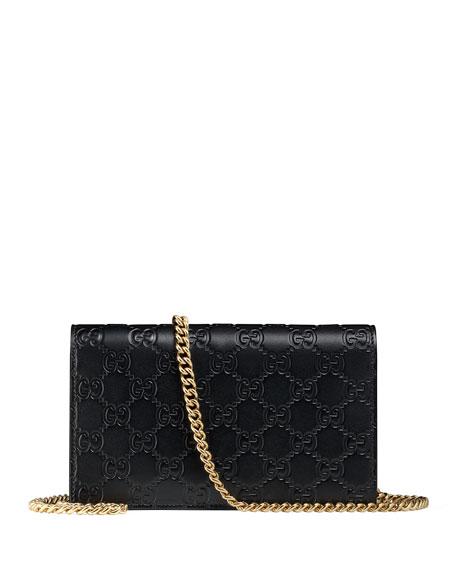 Gucci Icon Guccissima Wallet on Chain, Black
