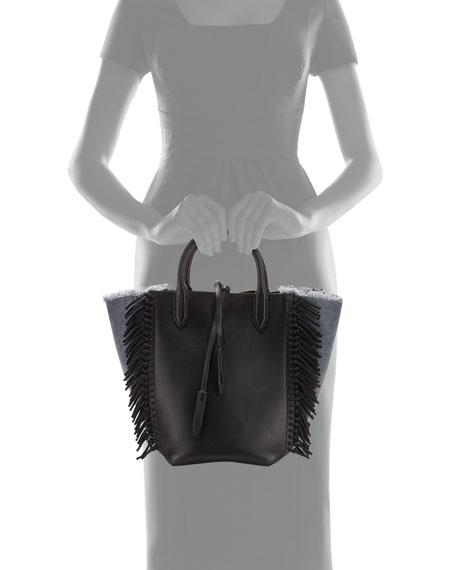 Bianca Small Fringe Tote Bag, Denim/Black