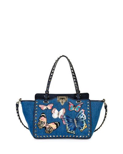 Rockstud Denim Butterfly Mini Tote Bag