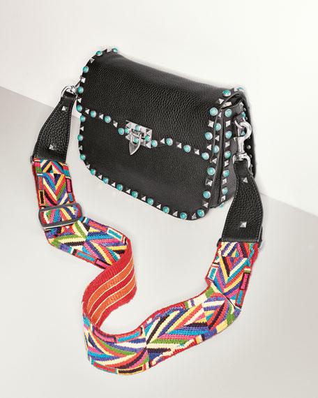 Valentino Garavani Rockstud Turquoise Stud Saddle Bag W Embroidered Strap Neiman Marcus