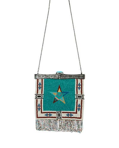 Metal-Framed Beaded Fringe Star  Shoulder Bag, Multicolor