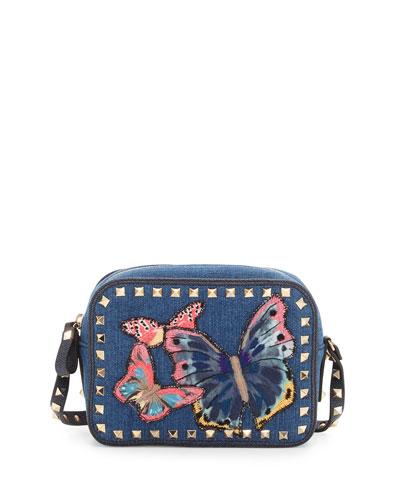 Rockstud Denim Butterfly Camera Bag