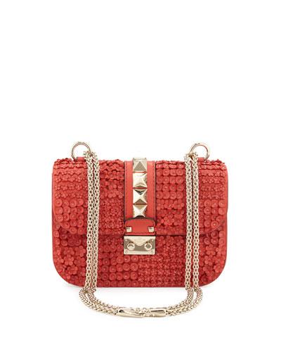Glam Lock Leather Flower Shoulder Bag, Deep Coral
