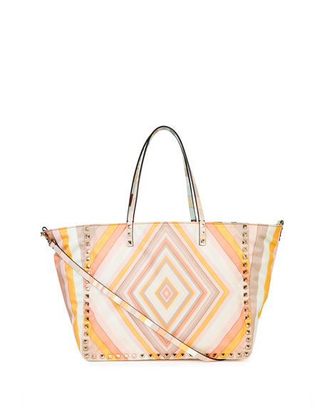 Valentino Rockstud 1975 Reversible Nylon Tote Bag, Orange Multi/Green Multi