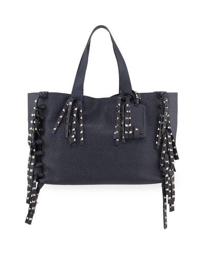 C-Rockee Studded Fringe Leather Tote Bag, Denim Blue