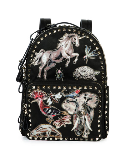 Rockstud Animalia Medium Embroidered Backpack, Black