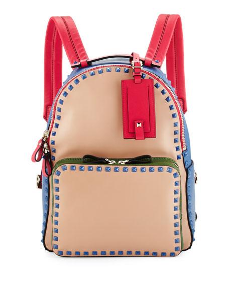 Valentino Rockstud Medium Four-Color Backpack, Beige/Blue/Pink/Green