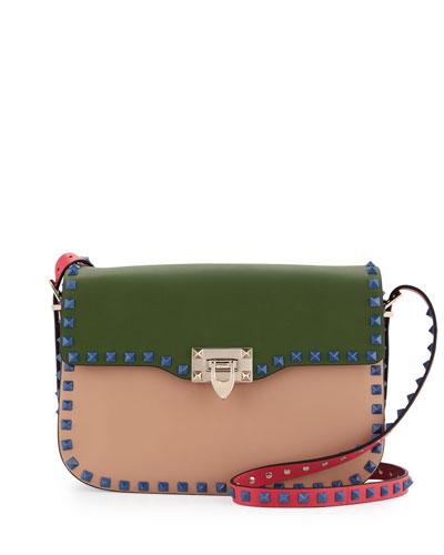 Rockstud Four-Color Medium Rounded Messenger Bag, Beige/Blue/Pink/Green
