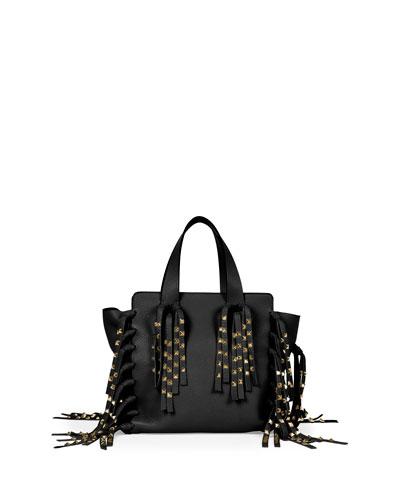 C-Rockee Micro Studded Fringe Shopper Tote Bag, Black