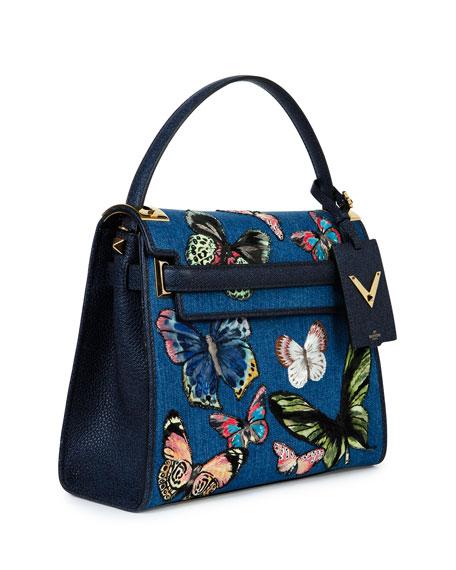 My Rockstud Denim Butterfly Satchel Bag