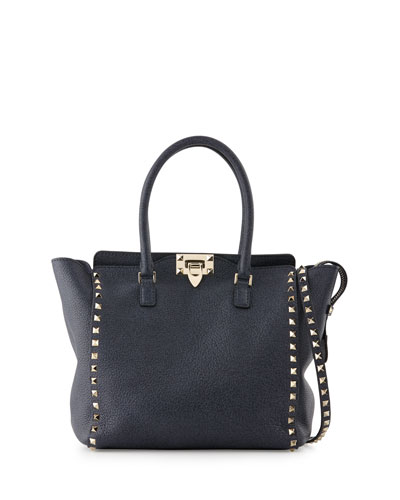 Rockstud Medium Leather Shopper Bag, Denim Blue
