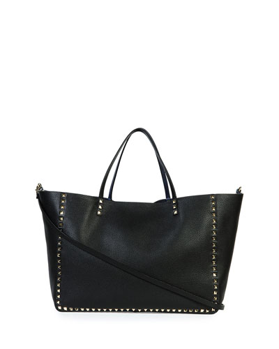 Rockstud Large Reversible Tote Bag, Denim Blue/Black