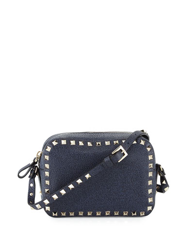 Rockstud Leather Camera Crossbody Bag, Denim Blue