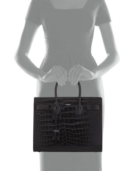 Sac de Jour Small Crocodile-Stamped Satchel Bag, Black