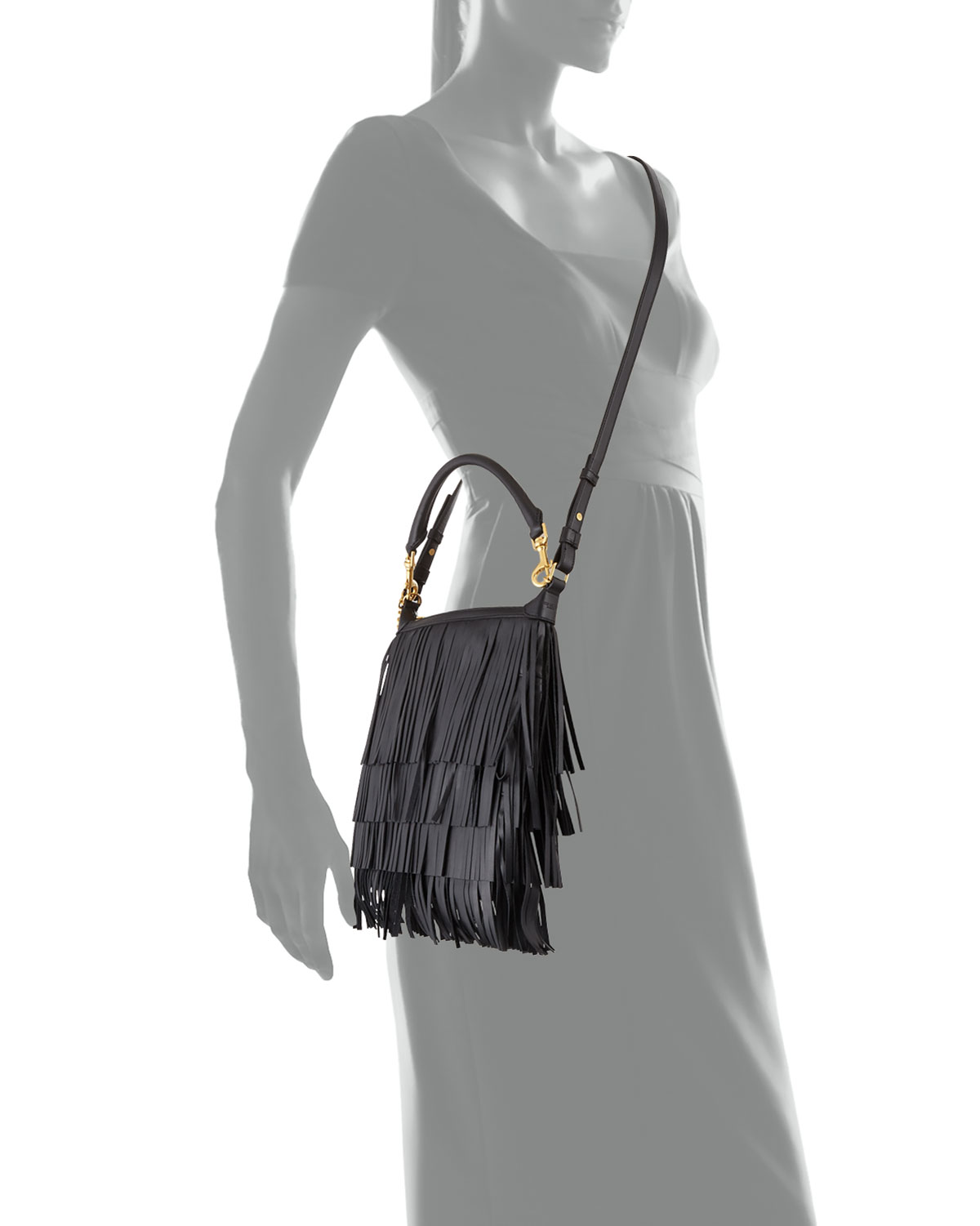 1f018c802e0 Saint Laurent Emmanuelle Small Leather Fringe Hobo Bag, Black | Neiman  Marcus