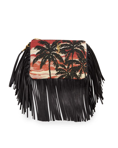 Monogram Fringe Jacquard Clutch Bag, Multi