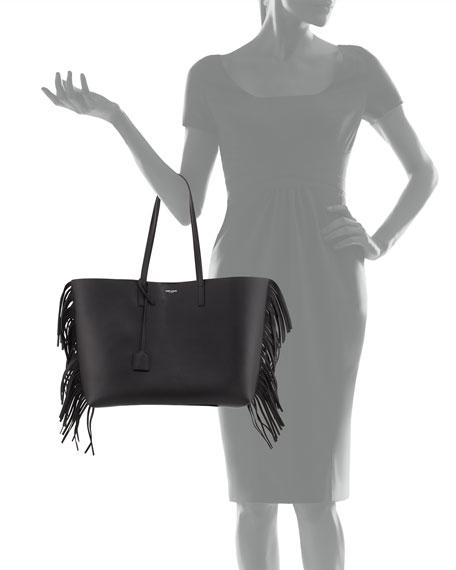 st laurent bag - Saint Laurent Large Calfskin Fringe Shopping Tote Bag, Black