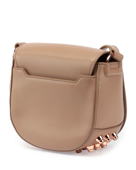 Lia Mini Leather Saddle Bag, Latte