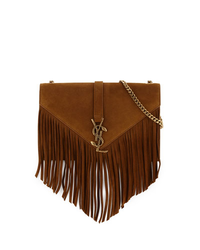 Monogram Medium Suede Fringe Crossbody Bag, Tan
