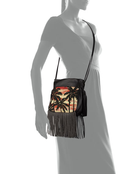 yves saint laurent bag - monogram sunset fringe bucket bag, black