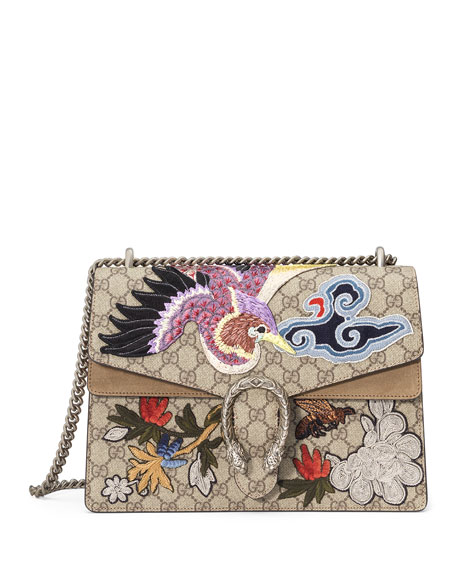 Dionysus Medium Bird Embroidered Shoulder Bag, Multi