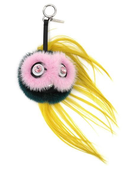 FendiBeak Mohawk Fur Monster Charm for Handbag, Pink/Blue/Yellow