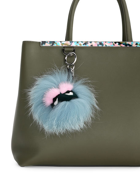 Image 2 of 2: Mini Eyelash Monster Fur Charm for Handbag, Blue/Black/Pink