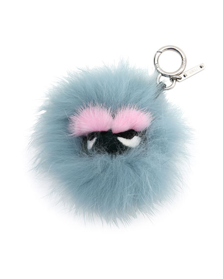 Image 1 of 2: Mini Eyelash Monster Fur Charm for Handbag, Blue/Black/Pink