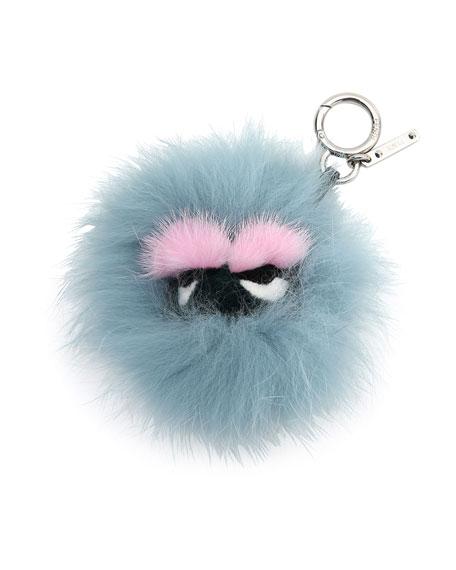 Mini Eyelash Monster Fur Charm for Handbag, Blue/Black/Pink