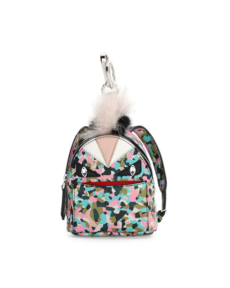 Fendi Monster Granite-Print Leather Backpack Charm for Handbag,