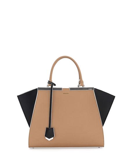 Fendi Trois-Jour Petite Bicolor Tote Bag, Tan/Black